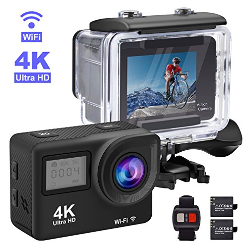 Accfly Sports Action Camera, 4K Waterproof Sport Camera,170 Degree Wide Angle WiFi HD Cam, 12MP 2 Rechargeable Battery, Free Travel Bag Accfly