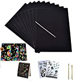 3 otters Scratch Art Rainbow, Scratch and Sketch Art papers Magic Painting Papers with Wooden Stylus & Rulers Stylus Makes Art Fun for Kids, 62 PCS