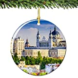 Madrid Spain Christmas Ornament 2.75 Inch Double Sided Porcelain Madrid Christmas Ornaments