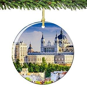 Amazon.com: Madrid Spain Christmas Ornament 2.75 Inch Double Sided ...