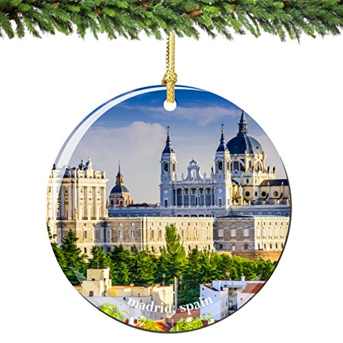 Madrid Spain Christmas Ornament 2.75 Inch Double Sided Porcelain Madrid Christmas Ornaments by City-Souvenirs