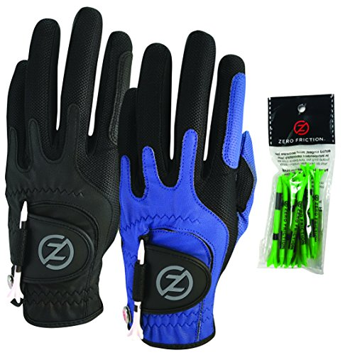 Zero Friction Male Mens Compression-Fit Synthetic Golf Glove (2 Pack), Universal Fit Black/Blue, One Size