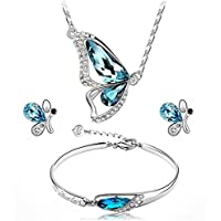 New Butterfly Jewelry Sets Necklace + Earring+Bracelet Crystal Set Fashion LE#by pimchanok shop