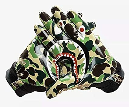27ed7057c97 Bape A Bathing Ape x 3 Stripes Adizero 8.0 Camo Green Football Receiving  Gloves 100%