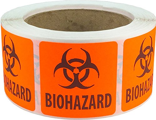 - Biohazard Safety Warning Labels 2 x 2 Inch Squares 500 Adhesive Stickers