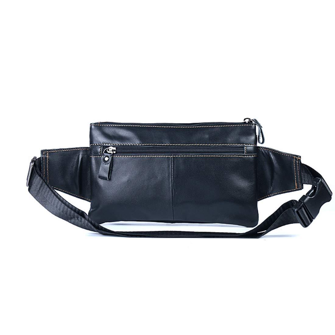 Color : Black RABILTY Fanny Pack Black Waist Bag Travel Hiking Hip Bum Purse Cowhide Travel Neck Pouch