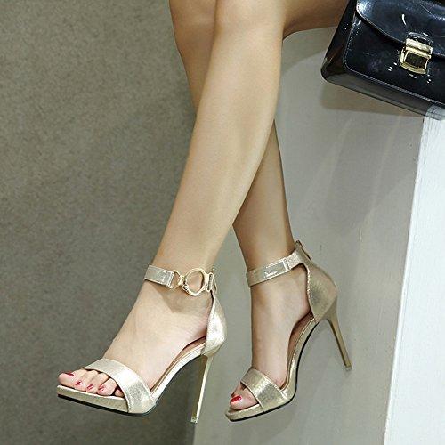 Easemax Para Mujer Elegante Faux Suede Correa Para El Tobillo Con Cremallera Dedo Del Pie Abierto Alto Estilete Sandalias De Tacón De Oro