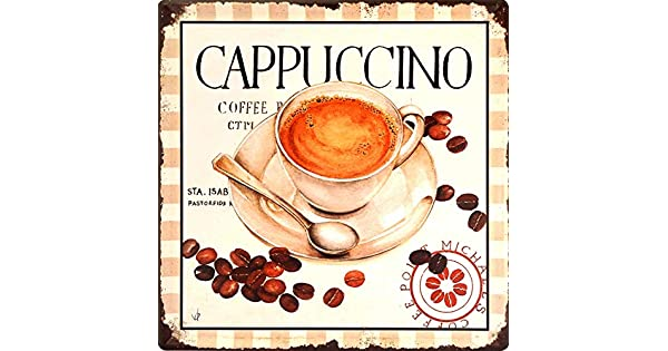 Cappuccino Coffee Beans - Dubai Retro Metal Plate Tin Sign