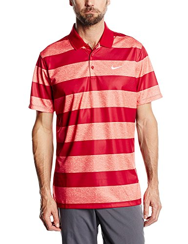 Nike Men's Golf Victory Bold Stripe Polo - Large - Lt Crimson/Gym Red/White