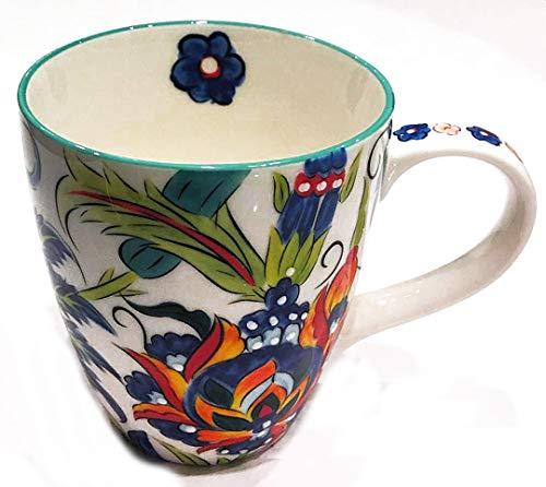 Colorful Floral Ceramic Mug for Coffee, Tea or Latte | Jacobean Floral on White - Floral Coffee Mug