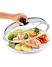 Bezrat Microwave Glass Plate Cover   Splatter Guard Lid with Easy Grip Silicone Handle Knob   100% Food Grade   BPA Free and Dishwasher Safe   Fits Plates and Bowls 11 x 2 inches (Black)