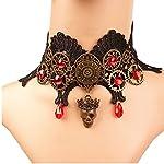MEiySH Lolita Goth Punk Wedding Party Black Steam Punk Gear Choker Necklace 13