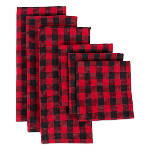 DII CAMZ10628 Cotton Plaid Kitchen Set, Dishcloth: 18 x 28/Dishtowel: 13 x 13, Red and Black 6 Pack