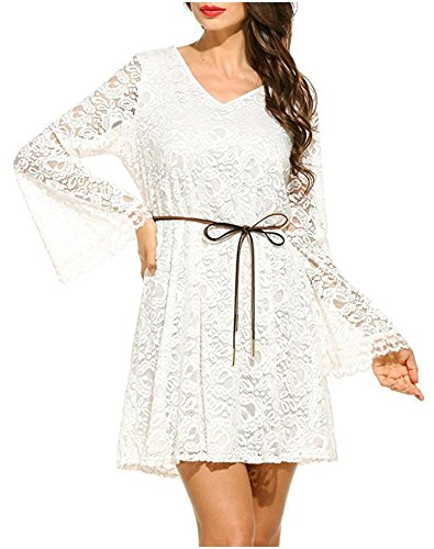fashion-magic-closet Womens Elegance Casual V-Neck Lace Flowy Loose Tunic Swing Long Sleeve (Head Swing Guard)