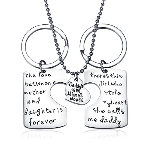 Udobuy3 Piece Keychain Pendant Necklace Set Daddy's Girl Mommy's World Mother Daughter Father Family Jewelry Necklace Set