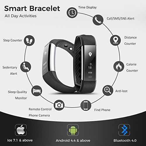 Fitness Tracker, Coffea C2 Activity Wristband : Bluetooth Wireless Smart Bracelet, Waterproof Pedometer Activity Tracker Watch with Replacement Band for IOS & Android Smartphone