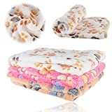 iNNEXT Puppy Blanket Pet Cushion Small Dog Cat Bed Soft Warm Sleep Mat, Pet Dog Cat Puppy Kitten Soft Blanket Doggy Warm Bed Mat Paw Print Cushion