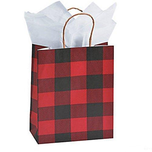 Fun Express 12 pack- Buffalo Plaid Kraft Woodland Gift Bags - medium 9 inch