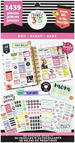 me & my BIG ideas Sticker Value Pack - The Happy Planner Scrapbooking Supplies - Mom Life Theme - Multi-Color & Gold Foil - Great for Projects, Scrapbooks & Albums - 30 Sheets, 1439 Stickers Total