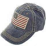 Unisex Washed Cotton Vintage USA Flag Low Profile Summer Baseball Cap Hat Navy