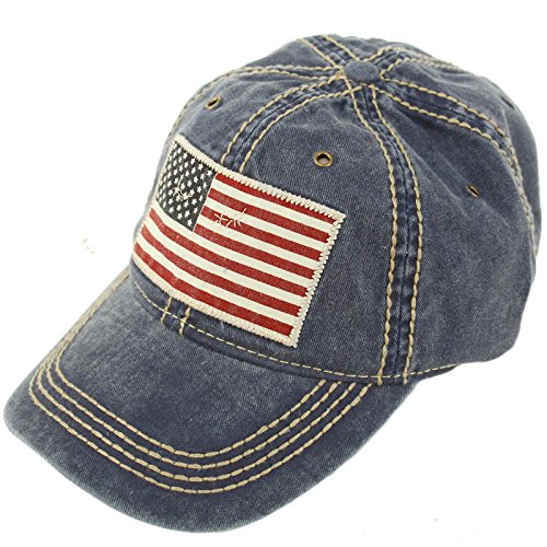 Unisex Washed Cotton Vintage USA Flag Low Profile Summer Baseball Cap Hat (American Protection)