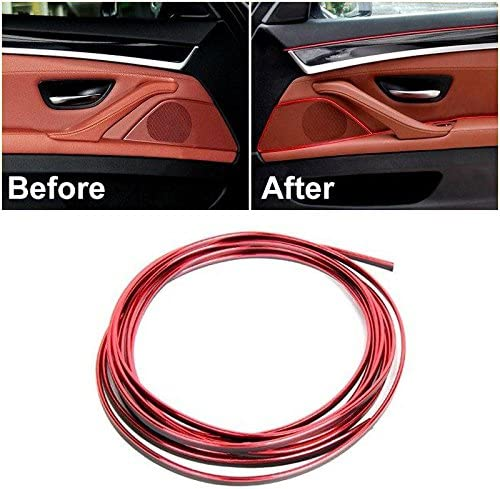 5M Red Edge Gap Line Molding Accessory For Universal Car Interior Garnish Point