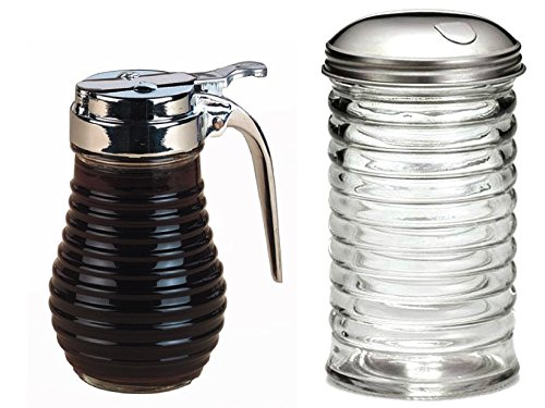 Tablcraft 12 oz Beehive Sugar Pourer and American Metalcraft (BSD64) 6 oz Beehive Syrup Dispenser Breakfast -