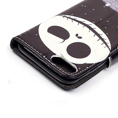 Protege tu iPhone, Para el iPhone 7 Embossment patrón de gato sonriente horizontal Flip caja de cuero con titular y ranuras para tarjetas y cartera Para el teléfono celular de Iphone. ( SKU : IP7G0106 IP7G0106J