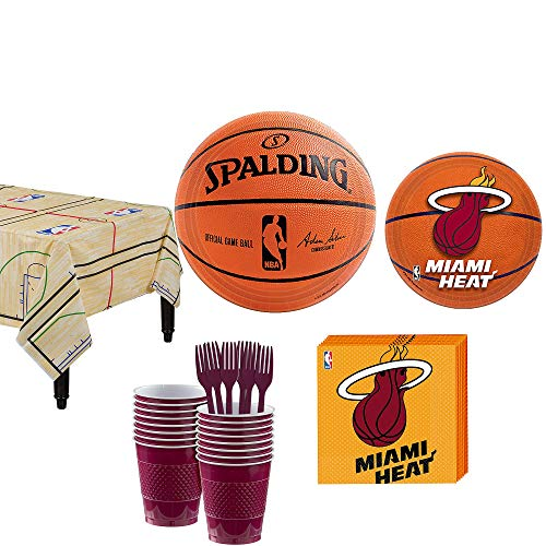 Party City Miami Heat Party Kit and Supplies for 16 Guests, Includes Table Cover, Plates and -