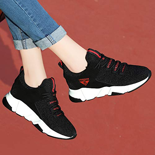 Zapatos de otoño Coreano Correr Harajuku Zapatos Zapatos Black los de Estilo Deportivos para de esparcimiento Las Mujeres Zapatos red Transpirable AJUNR BZqTwv5x