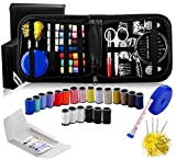 Arts & Crafts : Sewing Kit for Travel and Emergency Repairs - Includes Multiple Thread Colors, Retractable Tape Measure Plus 2 Extra Travel Sewing Kits in a PU Leather Case, MinisewingkitforBeginners