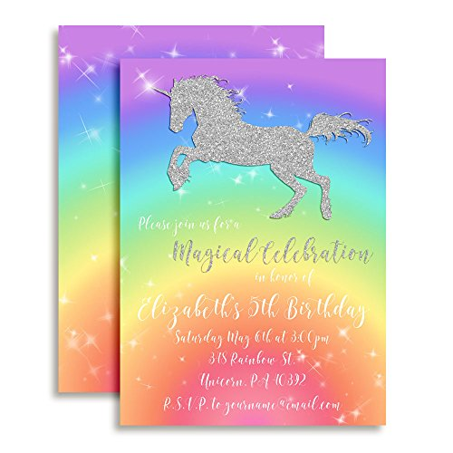 Rainbow Glitter Unicorn Custom and Personalized Invitations set of 20 including envelopes