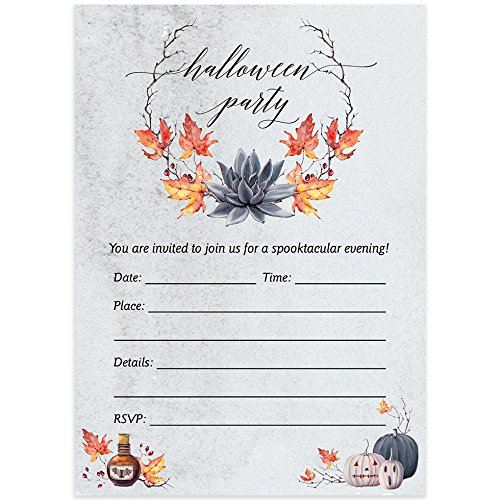 Farmhouse Halloween Party Invites & Envelopes (Pack of