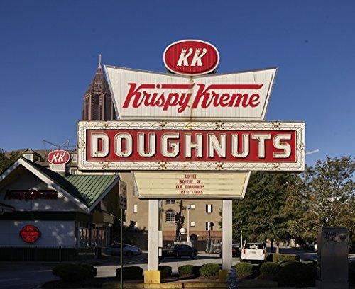 Photograph - Sign for the neighborhood Krispy Kreme donut shop in Atlanta, Georgia- Fine Art Photo Reporduction 55in x 44in