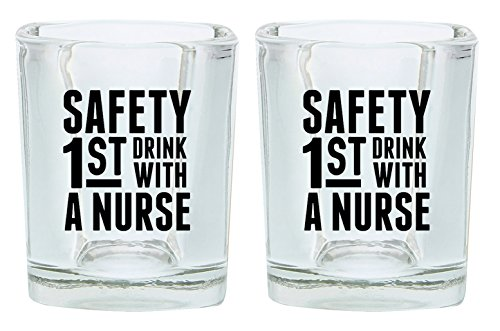 Nurse Shot Glass Safety 1st Drink With a Nurse Funny Nurse Gifts Nursing School Gift Shot Glasses 2-Pack Square Shot Glass Set Black