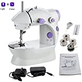 Mini Sewing Machine, Portable Electric Crafting Mending Machine 2-Speed Double Thread, Double Speed with Light & Cutter, Foot Pedal for Household Travel Beginner