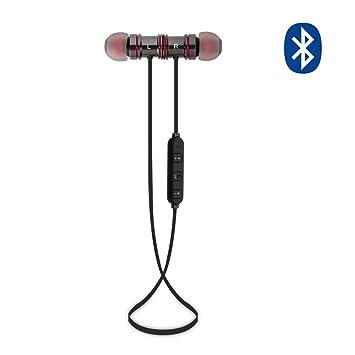 MAXAH Auriculares Inalámbricos de Deportes Bluetooth 4.1 Magnético Auriculares In-Ear Manos Libres con Bluetooth con Micrófono (Gris): Amazon.es: ...