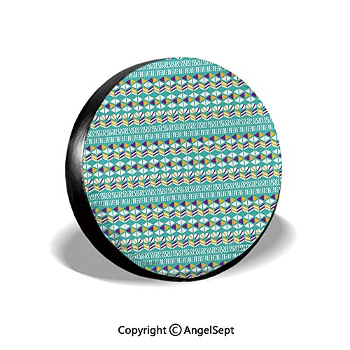 - Spare Tire Cover,Modern Ethnic Mix with Triangles Wavy Ovals Stripes Pattern,Marigold Turquoise Purple White,for Jeep,Trailer, RV, SUV and Many Vehicle 14