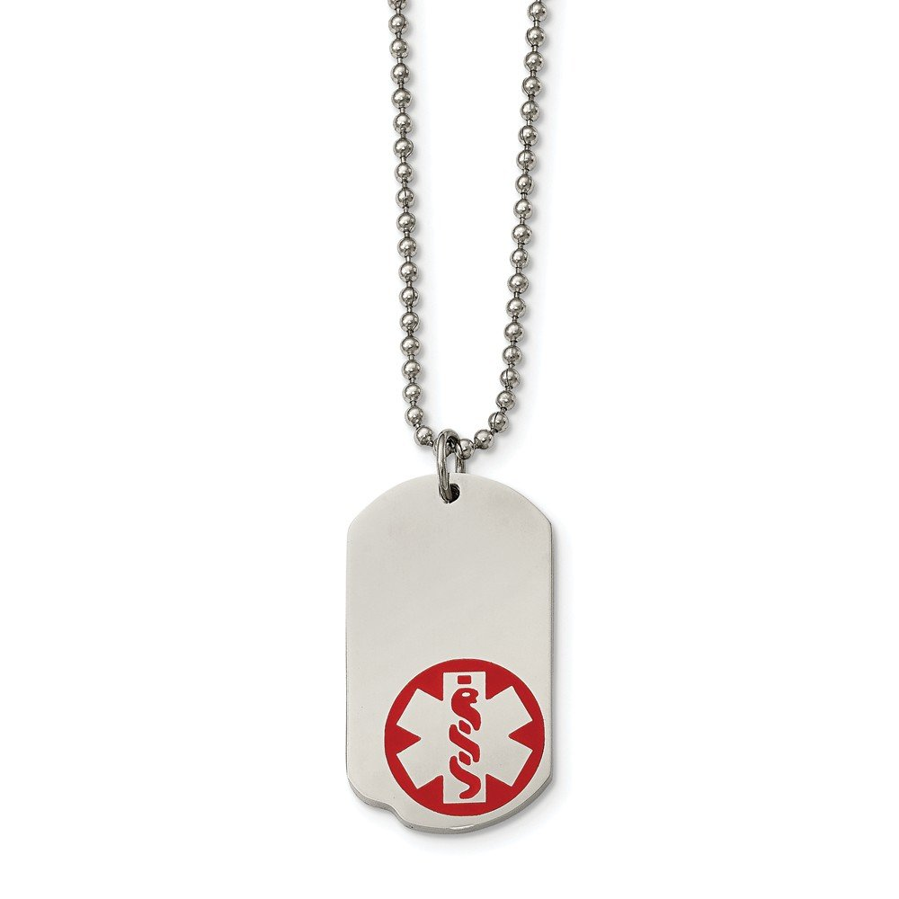 Jay Seiler Stainless Steel Small Dog Tag Medical Pendant 23.25in Necklace Length 22 in,