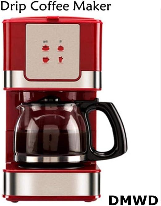Dmwd 220V / 50Hz 550W goteo capacidad 600ml / seis tazas de cafe practico Mini vapor cafetera roja de vidrio resistente al calor de la olla, Rojo: Amazon.es: Hogar