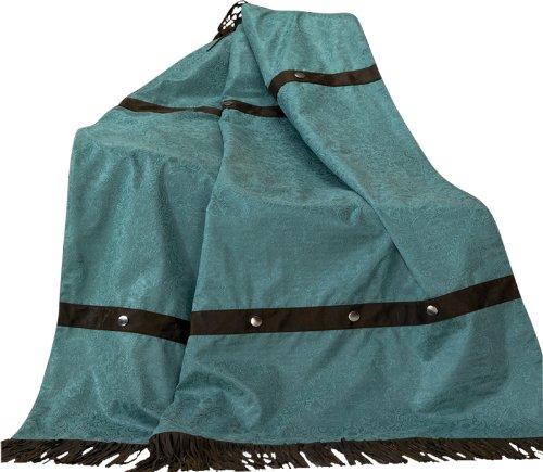 HiEnd Accents Cheyenne Western Throw, Turquoise (Cheyenne Bedding)