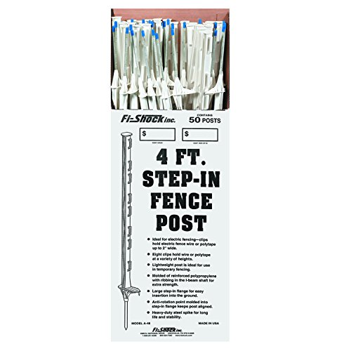 Fi-Shock 4' White Step-In Fence Posts- 50 Posts Included