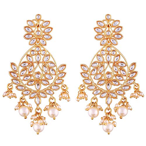 Aheli Indian Ethnic Wedding Wear Chandelier Pearl Beaded Dangle Earrings Bollywood Party Fashion Jewelry for Women
