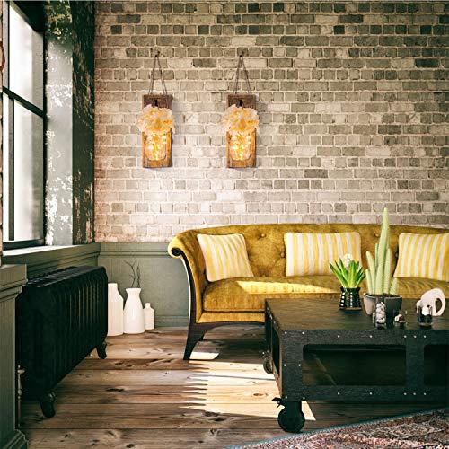 HAchoo Rustic Mason Jar Decorative Home Decoration Wall Decor - Living Decoration,Vintage Wrought Iron Hooks, Silk Hydrangea Flower Farmhouse Decor for Home Kitchen Decoration with 6 Hours Timer
