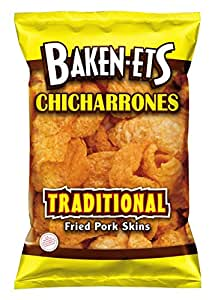 Baken-Ets Fried Pork Skins, Traditional, 3.5 Ounce (Pack of 6)