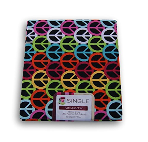 Creative Cuts Fat Quarters - Peace Sign on Black Background for $<!--$5.99-->