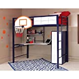 Powell Hoops Basketball Twin Loft Bed with Desk-For the Athlete in your Home- Sturdy Steel Bed for a Good nights Sleep-Perfect Space Saver and Kid's Bedroom Furniture