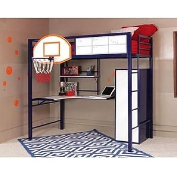 Amazon Com Powell Hoops Basketball Twin Loft Bed With