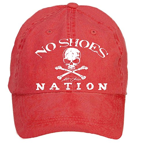Creetive idea No Shoes Nation Kenny Chesney Washed Cotton Hip Hop Cap Red from Creetive idea