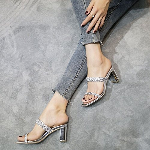 ZHANGJIA di diamond trentaquattro un paio d'argento con piedi sandali roma le argenteo scarpe e tacco 0rwf50q
